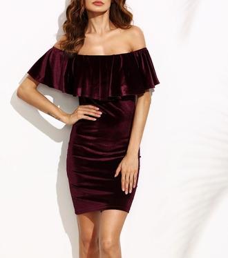 dress girl girly girly wishlist burgundy burgundy dress velvet velvet dress bodycon dress off the shoulder