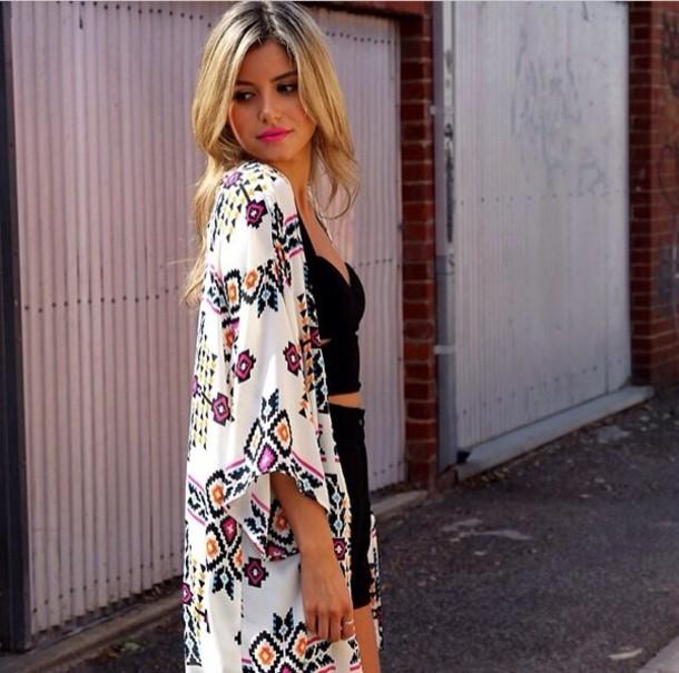 riche et magnifique photos officielles bon out x blouse, cape, kimono, aztec, summer, beach - Wheretoget