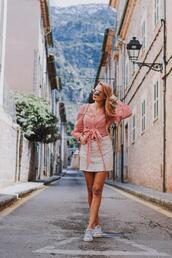 callmemaddie,blogger,blouse,skirt,shoes,jewels,sneakers,pink top,tie-front top,spring outfits