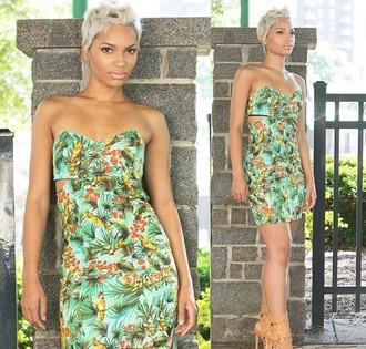 dress denim dress denim bodycon dress tropical beach dress tropical prints hawiian dress strapless dress