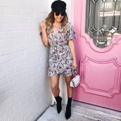 dress,tumblr,floral,floral dress,mini dress,wrap dress,hat,boots,black boots,ankle boots,sock boots,bag