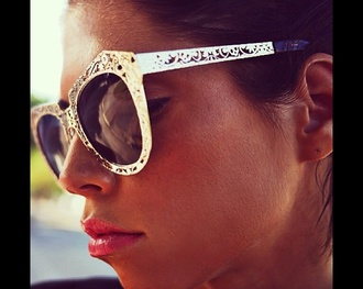 sunglasses lace cut-out gold shades white sunnies navy white sunglasses gold rims