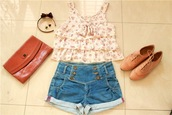 blue shorts,shoes,t-shirt,top,ruffle,white,color/pattern,vintage,flowers,blouse,floral,shirt,shorts,bag