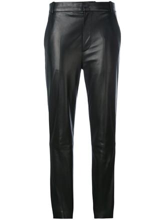women fit leather cotton black pants