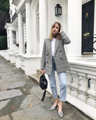 jacket tumblr blazer zara plaid plaid blazer check blazer denim jeans blue jeans top white top bag black bag shoes