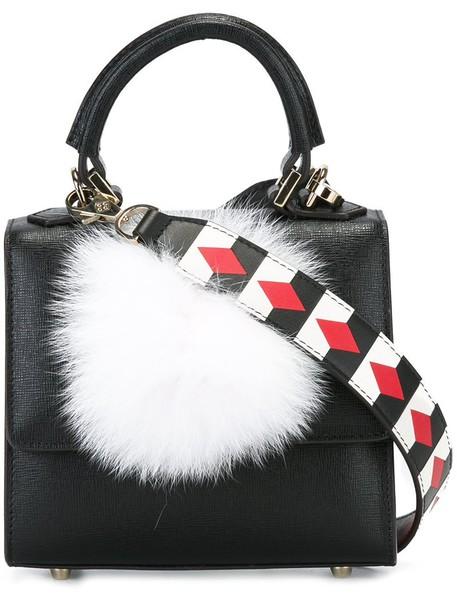 Les Petits Joueurs - micro 'Alex Mask' tote - women - Leather/Rabbit Fur - One Size, Black, Leather/Rabbit Fur