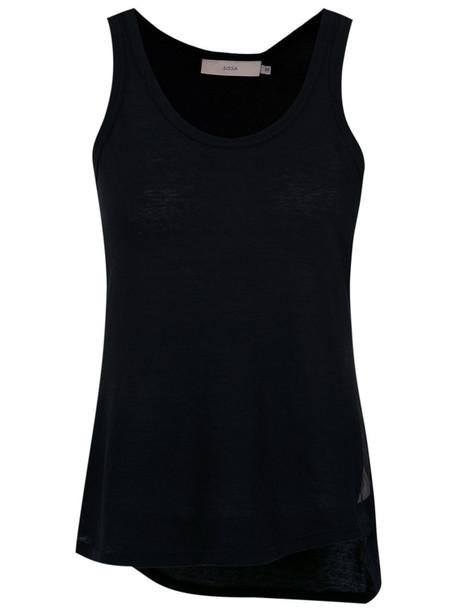 Sissa tank top top women cotton black silk