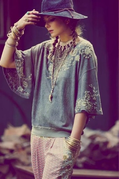 floppy hat blouse blue top bangles jewelled top embroidered sweatshirt