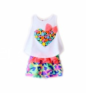 pants,printed shorts,pattern,colorful,children's day,children cap,tank top,heart,bows,bow,girly,girl,girly wishlist,outfit,style,fashion,baby clothing,top,cotton,multicolor
