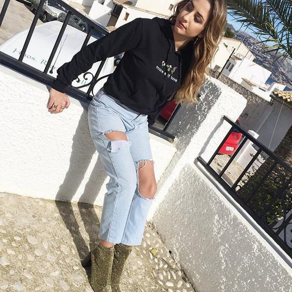 blouse yeah bunny black floral sweatshirt more self love