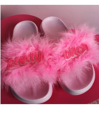 shoes girl girly girly wishlist pink fur pink fur pretty furry sandals slide shoes furslides