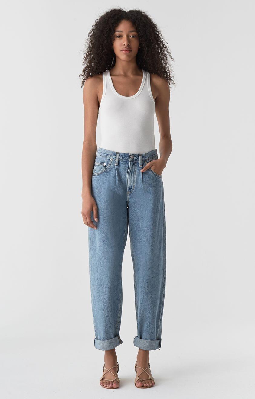 Baggy Oversized Jean with Pleats in Lark