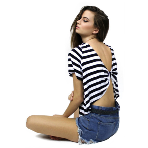 65060540539567 stripes, stripes, open back, bow, bow back, black and white, striped ...