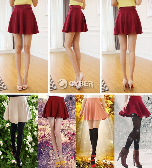 2013 New Women Candy Color Stretch Waist Plain Skater Flared Pleated Mini Skirt | eBay