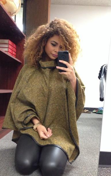 cardigan sweater crystal westbrooks green sweater cape coat poncho turtleneck coat