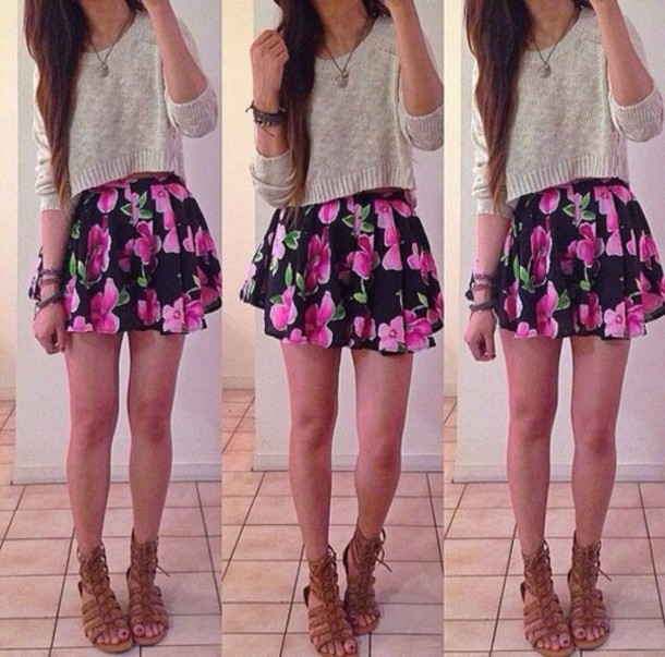 Skirt Sweater Cute Outfit Fashion Teenagers Teenagers Teenagers Girl Flowers Floral Blouse Everyday Sandals Necklace Shoes