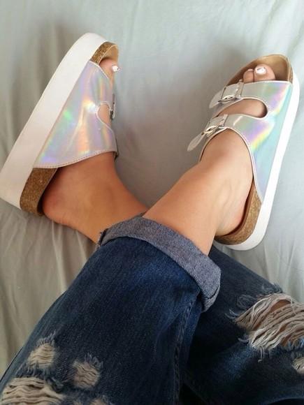 shoes shiny hollowgram silver style sandals jesus shoes