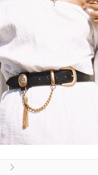 belt black gold chain