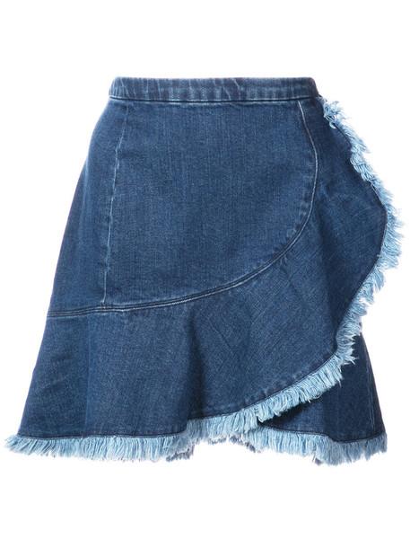TANYA TAYLOR skirt denim skirt denim women spandex cotton blue