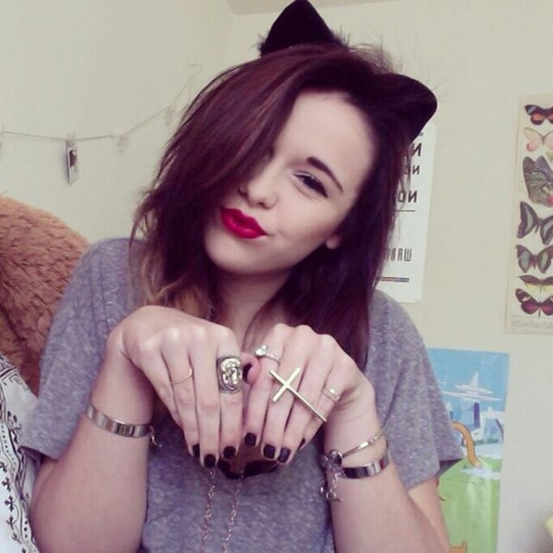 jewels ring acacia brinley cat ears red lipstick