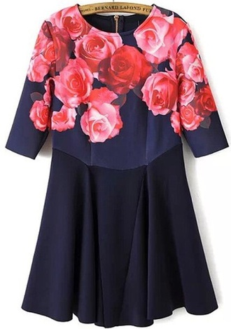 dress floral dress navy dress navy blue dress navy short dress fit and flare dress fashion style designer bernard lafond