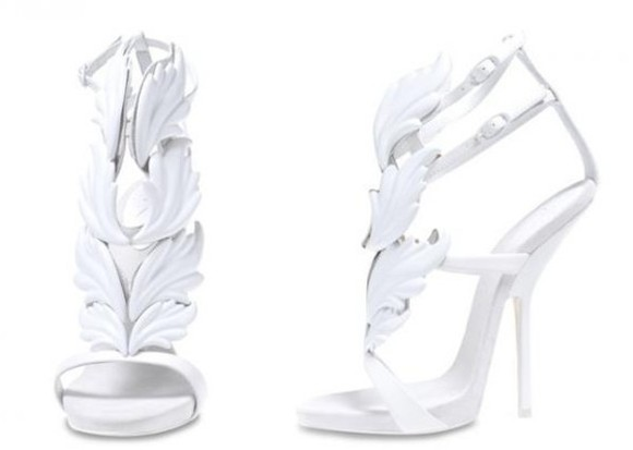 shoes pumps high heels white wings straps leaf
