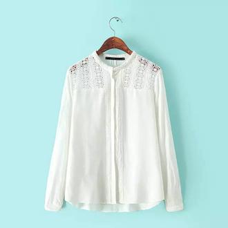 white blouse blouse white top crochet top lace embroidery retro blouse