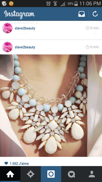 jewels blue white necklace collier bleu neck blanc
