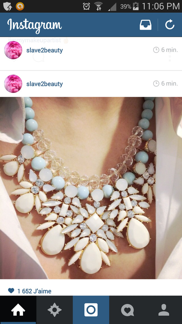 jewels necklace neck collier pretty blanc bleu white blue