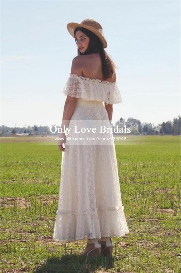 Buy vestido de noiva 2015 new boho ivory for Simple ankle length wedding dresses