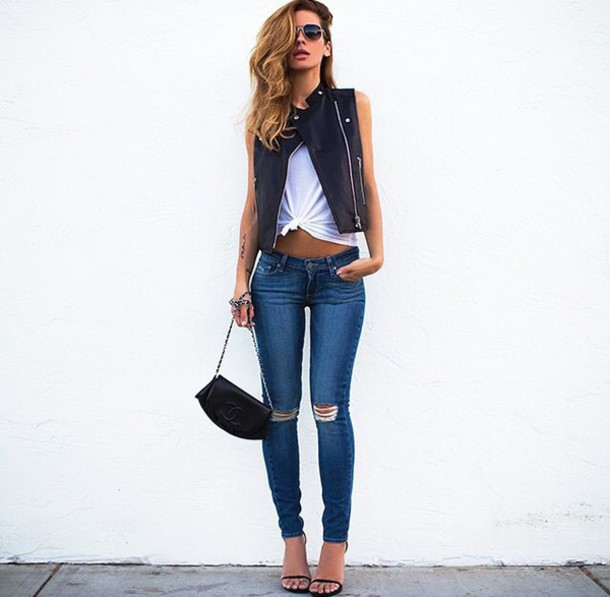 jeans denim skinny jeans leather jacket casual blogger streetstyle