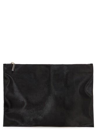 bag furry pouch black clutch