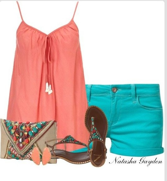 tank top shorts coral teal summer outfits flat sandals bag