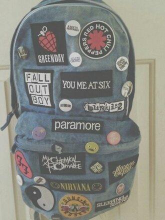 bag grunge edgy backpack band merch
