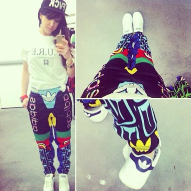 pants tracksuit adidas adidas originals adidas wings jeremy scott colorful  cool girl style swag t,