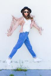 shoes and basics,blogger,jeans,mom jeans,suede fringe jacket,fringed jacket,pink jacket