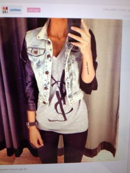 t-shirt yves saint laurent top grey jacket jeans