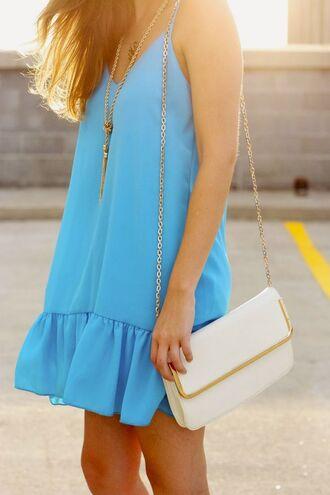 dress blue necklace purse