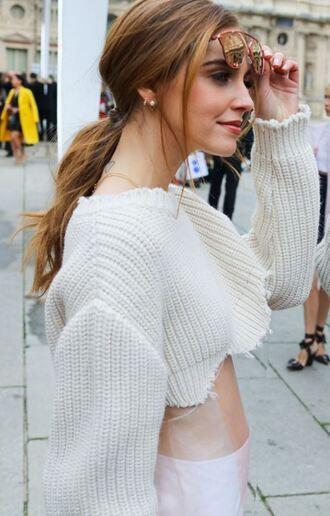 sweater cropped cropped sweater streetstyle fashion week 2016 paris fashion week 2016 chiara ferragni dior