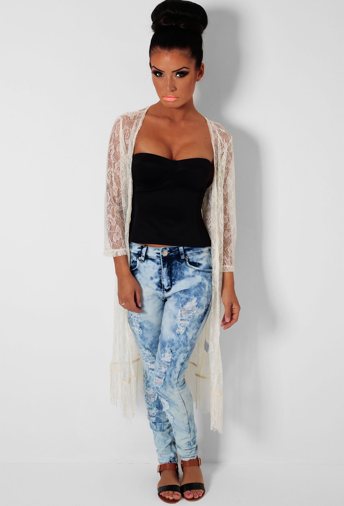 Cream Lace Maxi Knit Cardigan | Pink Boutique