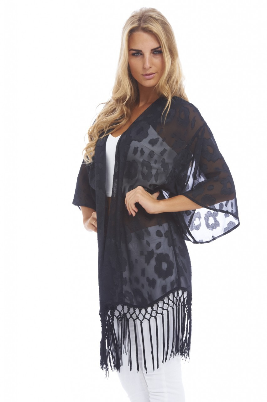 Long Burn Out Detail Chiffon Tassel Black Kimono