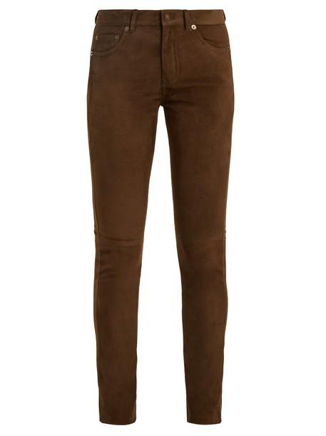 Saint Laurent suede khaki pants