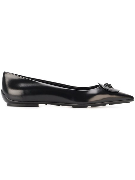 VERSACE metal women leather black shoes