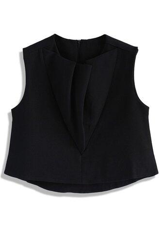 top ruffle sleeveless top black