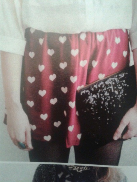 skirt red pink hearts pattern white
