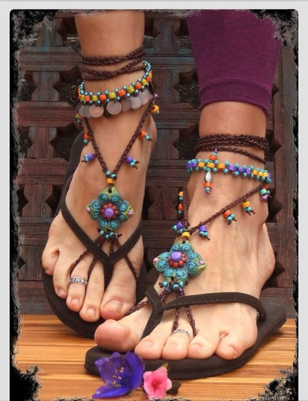 colourful jewels vibrant fashion bright shoes sandals women's accessory accessories for women foot accessories anklet with toe ring anklets