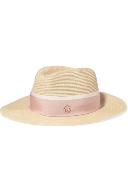 Maison Michel - Henrietta Grosgrain-trimmed Straw Hat - Pink