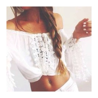 top crop tops boho chic summer top white top festival off the shoulder top lace up