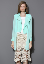 coat,mint,asymmetrical,chiffon,biker,trench coat