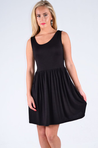 Selby Sleeveless Skater Dress In Black - Pop Couture